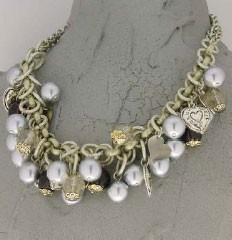 Silver pearl with heart Italian necklace