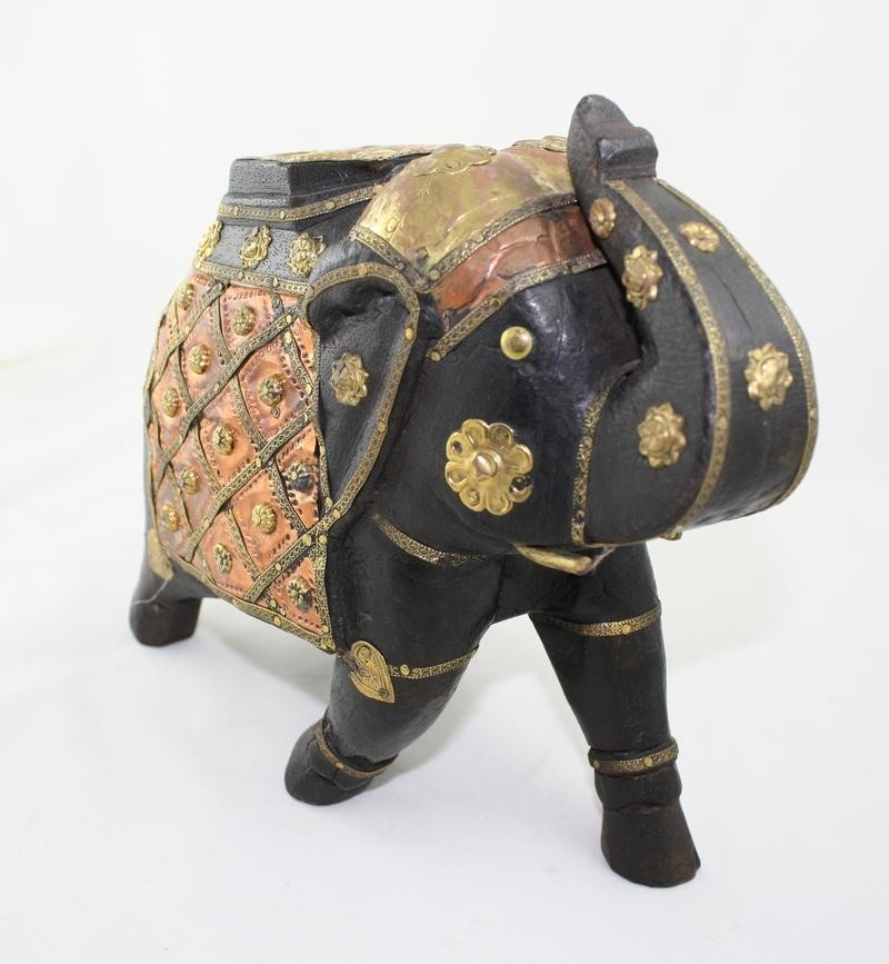 Wooden and brass decorated elephant