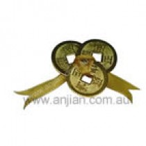 3 golden I Ching Coins tied with gold ribbon
