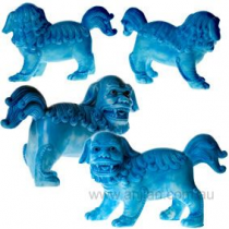 Pair of bright blue Fu Dogs