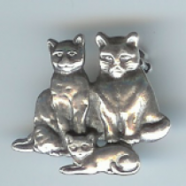 Three Cats Brooch