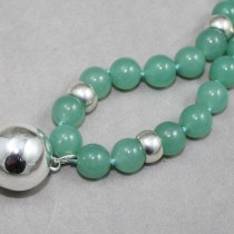 Jade beads and silver ball