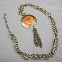 Long orange pendant necklace