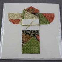 Kimono card, green and orange