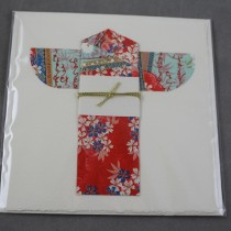 Kimono card, red and blue