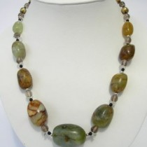 Necklace of sterling silver, jasper, smoky quartz, onyx and fresh water pearls