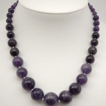 Necklace of amethyst and sterling silver beads