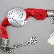 Pewter bracelet red