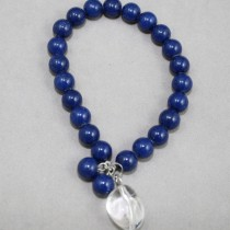 Royal blue gemstones bracelet with quartz