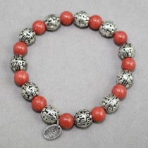 Salmon gemstones bracelet, silver beads