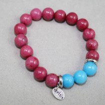Pink and blue gemstones bracelet