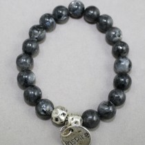 Charcoal gemstones bracelet with Inspire trinket