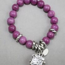 Magenta gemstones bracelet with trinket box
