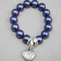 Blue violet pearls bracelet