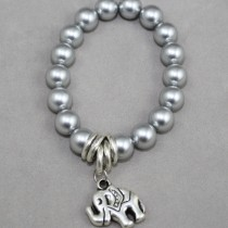 Silver pearls with elephant