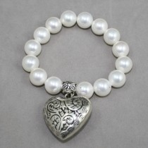 Pearls and large heart bracelet