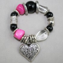 Hot pink, black and quartz beads