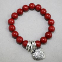 Red gemstones bracelet with heart