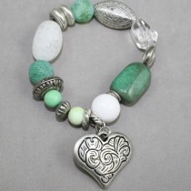 White and green gemstones bracelet