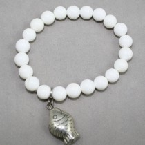White gemstones bracelet with fish
