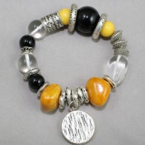 Yellow and black gemstones bracelet