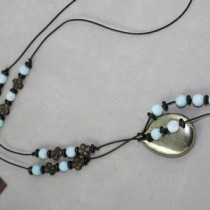 Blue cracked agate and pyrite necklace