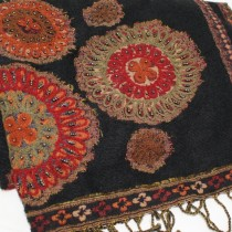 Embroidered black wool shawl