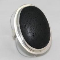 Lava Stone Silver Ring