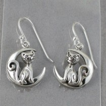 Cat and moon earrings