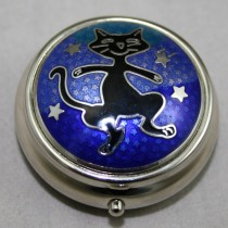 Black Cat and Stars Pill Box