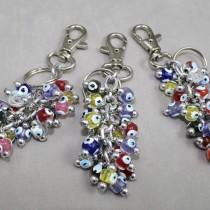Coloured bead key ring
