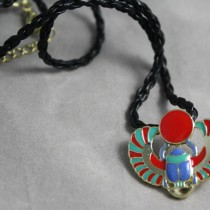 Scarab enamel necklace