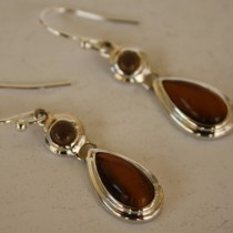 Tiger Eye Tear Drop Earrings