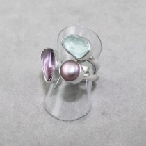 Aquamarine, Amethyst and Pearl Ring