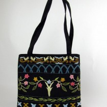 Flower and Dove embroidered bag