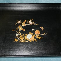 Leather bound serving tray