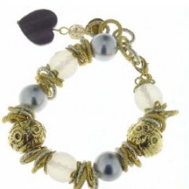 Bracelet Silver and Gold Pearls