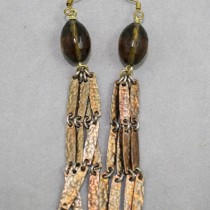 Vintage Brass Chain Earrings with Smokey