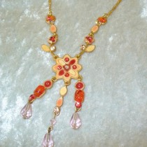 Coral and Ceramic Necklace