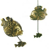 Fish bell in brass, with single fish below