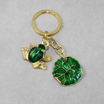 Frog and leaf key ring