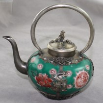Green china tea pot
