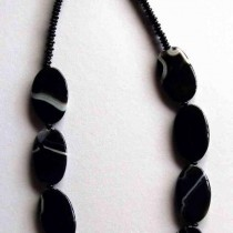 Black Agate Flat Ovals Necklace