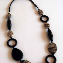 Black Water Jasper, Black Agate and Onyx Necklace
