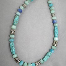 Blue Quartz, Turquoise and Silver necklace