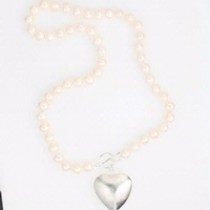 Pearls and silver heart