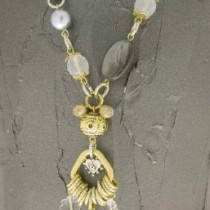 Italian Necklace Silver and Gold Pearls