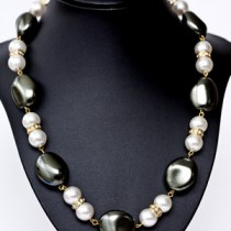 West German Olive and White Pearls