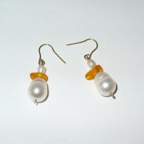 Pearl and Amber Earrings