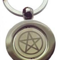 High quality Silver pentagram symbol Keyring